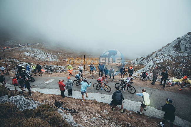 White Jersey Egan Bernal (COL) Ineos Grenadiers, Red Jersey Primoz Roglic (SLO) Jumbo-Visma and Enric Mas (ESP) Movistar Team during Stage 18 of La Vuelta d'Espana 2021, running 162.6km from Salas to Alto del Gamoniteiru, Spain. 2nd September 2021.   <br /> Picture: Cxcling   Cyclefile<br /> <br /> All photos usage must carry mandatory copyright credit (© Cyclefile   Cxcling)