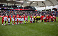 CARSON, CA - FEBRUARY 9: Canada and USWNT starting eleven in the Final during a game between Canada and USWNT at Dignity Health Sports Park on February 9, 2020 in Carson, California.