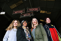 "Pictured L-R: Co-director Evie Manning, artistic director Kully Thiarai, writer Rachel Trezise and co-director  Rhiannon White<br /> Re: Press rehearsal of ""We'Re Still Here"", a play created by Rachel Trezise, Common Wealth and the National Theatre Wales about steelworkers, which will be performed in Byass Works, a disused industrial unit, in Port Talbot, south Wales, UK."