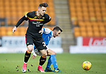 St Johnstone v Partick Thistle…27.01.18…  McDiarmid Park…  SPFL<br />Miles Storey battles with Stefan Scougall<br />Picture by Graeme Hart. <br />Copyright Perthshire Picture Agency<br />Tel: 01738 623350  Mobile: 07990 594431