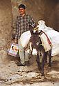 Iraq 1999.Young man with his donkey leaving Amadia.Irak 1999.Jeune homme avec son ane a la sortie de Amadia