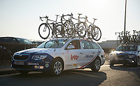 111th Paris-Roubaix 2013..teamcars heading out to the start..