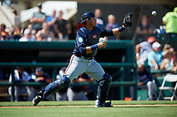 Atlanta Braves catcher Alex Jackson (70) waits to receive a throw during a Grapefruit League Spring Training game against the Detroit Tigers on March 2, 2019 at Publix Field at Joker Marchant Stadium in Lakeland, Florida.  Tigers defeated the Braves 7-4.  (Mike Janes/Four Seam Images)