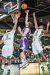 North Texas Mean Green guard Brandan Walton (2) and Stephen F. Austin Lumberjacks forward Nikola Gajic (4) in action during the game between the Stephen F. Austin Lumberjacks and the North Texas Mean Green at the Super Pit arena in Denton, Texas. SFA defeats UNT 87 to 53.