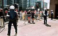 Montreal (Qc) CANADA - May 2000 File Photo-<br /> Montreal city Policemen,watch demonstrators outside the Sheraton Hotel where the Conference of Montreal is taking place.