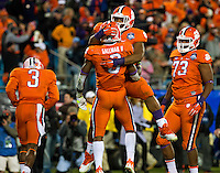 Photography coverage of the Clemson Tigers  45-37  victory over the North Carolina Tar Heels at the Atlantic Coast Conference Football Championship at Bank of America Stadium on December 5, 2015 in Charlotte, North Carolina. <br /> <br /> Charlotte Photographer - PatrickSchneiderPhoto.com