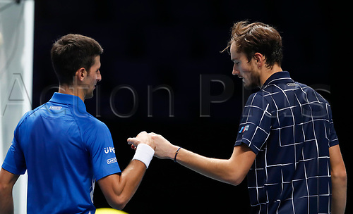 18th November 2020, O2, London, England; Daniil Medvedev R of Russia greets with Novak Djokovic of Serbia after their singles group match at the ATP  finals in London