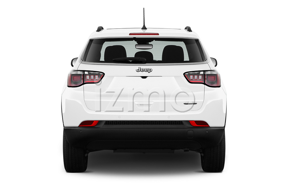 Straight rear view of a 2018 Jeep Compass Latitude 5 Door SUV stock images
