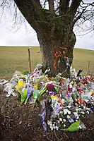 Flowers at the scene of a fatal road accident..©shoutpictures.com..john@shoutpictures.com