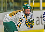 14 February 2015: University of Vermont Catamount Forward Bridget Baker, a Sophomore from Los Gatos, CA, in first period action against the University of New Hampshire Wildcats at Gutterson Fieldhouse in Burlington, Vermont. The Lady Catamounts rallied from a 3-1 deficit to earn a 3-3 tie in the final home game of their NCAA Hockey East season. Mandatory Credit: Ed Wolfstein Photo *** RAW (NEF) Image File Available ***