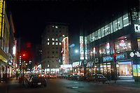 1984 File Photo - Montreal (qc) CANADA - Sainte-Catherine Street shopping area in downtown Montreal, at night.