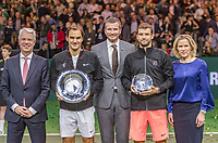 Rotterdam, The Netherlands, 18 Februari, 2018, ABNAMRO World Tennis Tournament, Ahoy, Singles final, The tournament director Richard Krajicek in the middle left of him the winner of the 45th ABNAMROWTT  Roger Federer (SUI) and right the runner up Grigor Dimitrov (BUL) far left the CEO of the ABNAMRO Bank Kees van Dijkhuizen and far right Ahoy director Jolanda Jansen.<br /> Photo: www.tennisimages.com/henkkoster