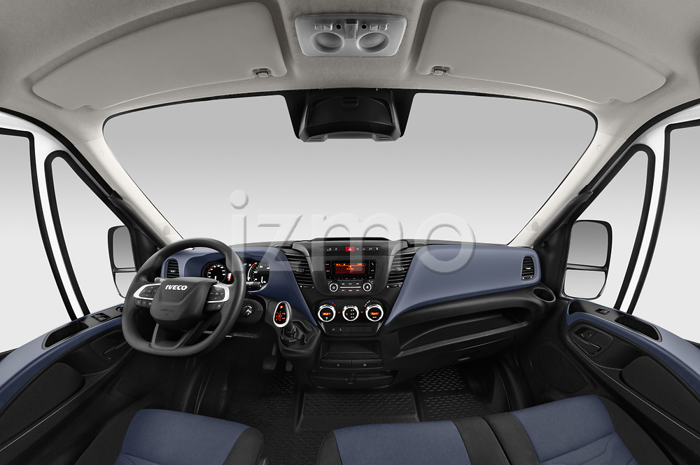 Stock photo of straight dashboard view of 2021 Iveco Daily 12m3-L3H2 4 Door Cargo Van Dashboard