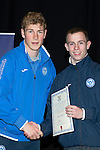 St Johnstone FC Youth Academy Presentation Night at Perth Concert Hall..21.04.14<br /> David Wotherspoon presents to Joshua Milne<br /> Picture by Graeme Hart.<br /> Copyright Perthshire Picture Agency<br /> Tel: 01738 623350  Mobile: 07990 594431