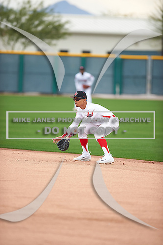 Tre Babauta (1) of Mt. Pleasant High School in San Jose, California during the Under Armour All-American Pre-Season Tournament presented by Baseball Factory on January 14, 2017 at Sloan Park in Mesa, Arizona.  (Zac Lucy/Mike Janes Photography)
