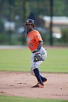 Houston Astros Freudis Nova (98) during practice before a Minor League Spring Training Intrasquad game on March 28, 2018 at FITTEAM Ballpark of the Palm Beaches in West Palm Beach, Florida.  (Mike Janes/Four Seam Images)