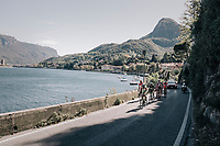 the breakaway group riding by Lake Como in Malgrate<br /> <br /> Il Lombardia 2017<br /> Bergamo to Como (ITA) 247km