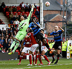 Nottingham Forest v Doncaster Rovers<br /> 15.3.2014<br /> Sky Bet League Championship<br /> Picture Shaun Flannery/Trevor Smith Photography<br /> Forest keeper Karl Darlow clears the ball from Rovers Abdoulaye Meite.