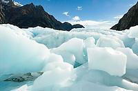 Big blocks of ice after collapse of ice cave on Franz Josef Glacier, Westland Tai Poutini National Park, West Coast, UNESCO World Heritage Area, New Zealand, NZ