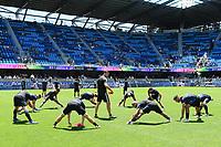 SAN JOSE, CA - JUNE 8: San Jose Earthquakes warmup during a game between FC Dallas and San Jose Earthquakes at Avaya Stadium on June 8, 2019 in San Jose, California.