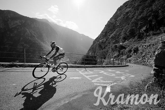 Christophe Riblon (FRA/Ag2r-La Mondiale) up the Lacets de Montvernier (2C/782m/3.4km, 8.2%)<br /> <br /> stage 18: Gap - St-Jean-de-Maurienne (187km)<br /> 2015 Tour de France