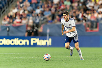 FOXBOROUGH, MA - AUGUST 18: Drew Skundrich #12 of D.C. United on the attack during a game between D.C. United and New England Revolution at Gillette Stadium on August 18, 2021 in Foxborough, Massachusetts.