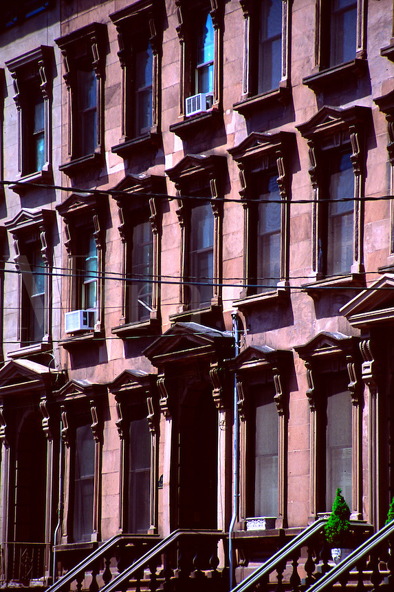 Detail of brownstone apartment  buildings in Hoboken, New Jersey.