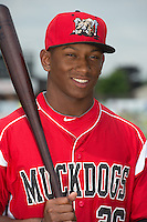 Batavia Muckdogs outfielder Miles Williams (26) poses for a photo during media day on June 10, 2014 at Dwyer Stadium in Batavia, New York.  (Mike Janes/Four Seam Images)