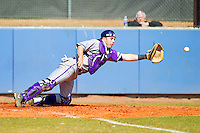 High Point Panthers catcher Josh Spano (21) stretches for a throw at home plate during the game against the Presbyterian Blue Hose at the Presbyterian College Baseball Complex on March 3, 2013 in Clinton, South Carolina.  The Blue Hose defeated the Panthers 4-1.  (Brian Westerholt/Four Seam Images)