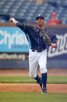 Wilmington Blue Rocks third baseman Wander Franco (12) throws to first base during the second game of a doubleheader against the Frederick Keys on May 14, 2017 at Daniel S. Frawley Stadium in Wilmington, Delaware.  Wilmington defeated Frederick 3-1.  (Mike Janes/Four Seam Images)
