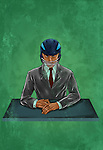 Illustrative image of businessman wearing helmet at desk representing business insurance