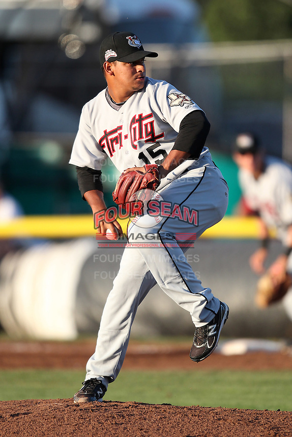 Tri-City ValleyCats pitcher Juri Perez #15 during a game against the Batavia Muckdogs at Dwyer Stadium on July 15, 2011 in Batavia, New York.  Batavia defeated Tri-City 4-3.  (Mike Janes/Four Seam Images)