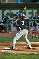 Nick De La Rosa (3) of the Grand Junction Rockies at bat against the Ogden Raptors at Lindquist Field on June 5, 2021 in Ogden, Utah. The Raptors defeated the Rockies 18-1. (Stephen Smith/Four Seam Images)
