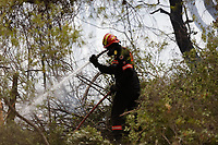 Pictured: in the Mati area, Kokkino Limanaki near Rafina, Greece. Tuesday 24 July 2018<br /> Re: Deaths caused by wild forest fires throughout Greece.