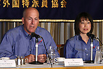 June 28, 2010 - Tokyo, Japan - NASA Commander Alan Poindexter (L) and  Japan Aerospace Exploration Agency (JAXA) astronaut Naoko Yamazaki speak to the media during a press conference at the Foreign Correspondent Club of Japan in Tokyo on June 28, 2010. On April 5, 2010 Poindexter and Yamazaki entered space on the shuttle Discovery as part of mission STS-131 and returned to Earth on April 20, 2010. Space Shuttle mission STS-131 was notable as the longest yet for Shuttle Discovery.