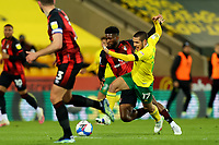 17th April 2021; Carrow Road, Norwich, Norfolk, England, English Football League Championship Football, Norwich versus Bournemouth; Jefferson Lerma of Bournemouth fouls Emi Buendia of Norwich City