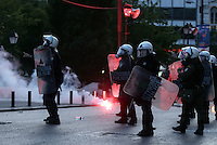 Pictured: Riot police officers Sunday 09 May 2016<br /> Re: Riots break out between protesters and police in Syntagma Square, while MPs in the Greek Parliament vote for new tax, pension and welfare reforms in Athens, Greece