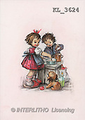 Interlitho, CHILDREN, nostalgic, paintings, boy, girl cooking(KL3624,#K#) Kinder, niños, nostalgisch, nostálgico, illustrations, pinturas