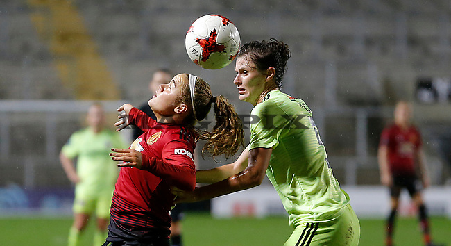 Charlie Devlin of Manchester United Women and Danielle Cox of Sheffield Utd Women