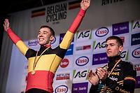 podium with race winner and Belgian National Champion Laurens Sweeck (BEL/Pauwels Sauzen - Bingoal) <br /> <br /> Elite Men's Race <br /> Belgian National CX Championships<br /> Antwerp 2020
