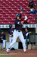 Cedar Rapids Kernels outfielder DaShawn Keirsey (5) at bat during a Midwest League game against the Bowling Green Hot Rods on May 2, 2019 at Perfect Game Field in Cedar Rapids, Iowa. Bowling Green defeated Cedar Rapids 2-0. (Brad Krause/Four Seam Images)