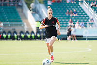CARY, NC - SEPTEMBER 12: Christen Westphal #18 of the Portland Thorns warms up before a game between Portland Thorns FC and North Carolina Courage at WakeMed Soccer Park on September 12, 2021 in Cary, North Carolina.
