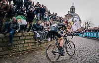 Niki Terpstra (NED/Direct Energie) charging up the infamous Kapelmuur<br /> <br /> 74th Omloop Het Nieuwsblad 2019 <br /> Gent to Ninove (BEL): 200km<br /> <br /> ©kramon