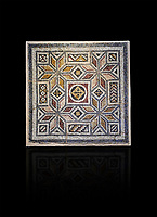 Roman mosaics - Geometric Mosaic. House of Okeanos, Ancient Zeugama, 2nd - 3rd century AD . Zeugma Mosaic Museum, Gaziantep, Turkey.   Against a black background.