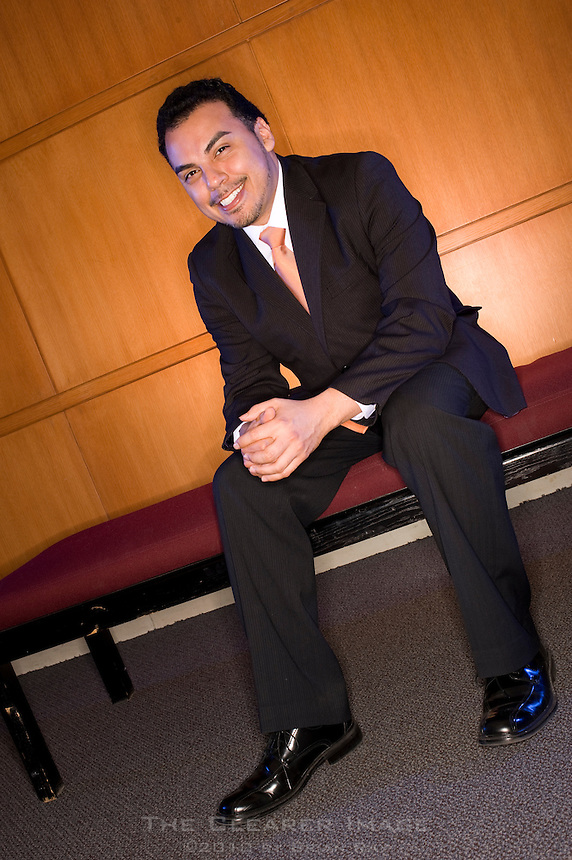 Portrait photo shoot of Raul Magdaleno for the National Society of Hispanic MBA Magazine on the Southern Methodist University campus at the Meadows School of the Arts in Dallas, TX on Wednesday, March 9, 2011.