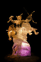 World Ice Art Championship, award winning Ice Sculpture by Steve Brice lit by colored lights, Fairbanks, Alaska