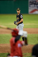 West Virginia Black Bears relief pitcher Ryan Valdes (2) gets ready to deliver a pitch during a game against the Batavia Muckdogs on June 19, 2018 at Dwyer Stadium in Batavia, New York.  West Virginia defeated Batavia 7-6.  (Mike Janes/Four Seam Images)
