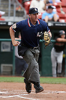 July 20th 2008:  Home plate umpire Pete Pedersen during a game at Dunn Tire Park in Buffalo, NY.  Photo by:  Mike Janes/Four Seam Images