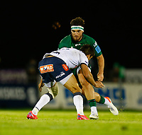 1st October 2021;  The Sportsground, Galway, Ireland; United Rugby Championships, Connacht versus Bulls; Tom Daly (Connacht) looks for a way past Harold Vorster (Bulls)
