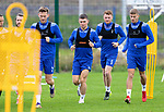 St Johnstone Training...14.08.21<br />Glenn Middleton pictured with Jamie McCart, James Brown and Reece Devine during the final training session at McDiramid Park before heading to Austria to face Lask in the Europa Conference League qualifier.<br />Picture by Graeme Hart.<br />Copyright Perthshire Picture Agency<br />Tel: 01738 623350  Mobile: 07990 594431